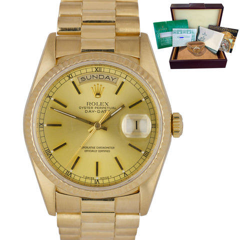 1993 Rolex Day-Date President 36mm Double Quickset 18K Yellow Gold Watch 18238