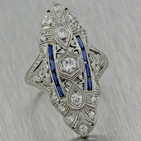 1920s Antique Art Deco Filigree 18k White Gold Diamond Sapphire Engagement Ring