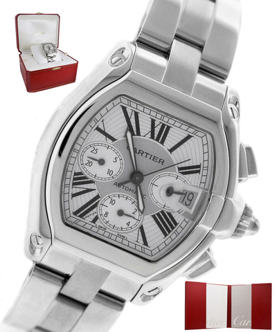 MINT Men's Cartier Roadster XL Stainless Silver Chronograph W62019X6 Watch 2618