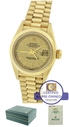 MINT Ladies Rolex DateJust President 26mm Houndstooth 69178 18K Gold Watch