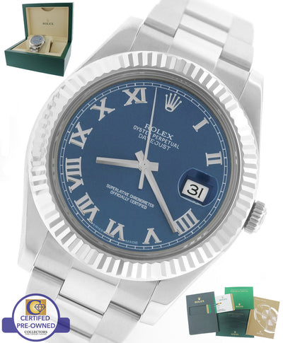 2015 Rolex Datejust II 2 41MM Blue Azzurro Roman 116334 Stainless 18K Gold Watch