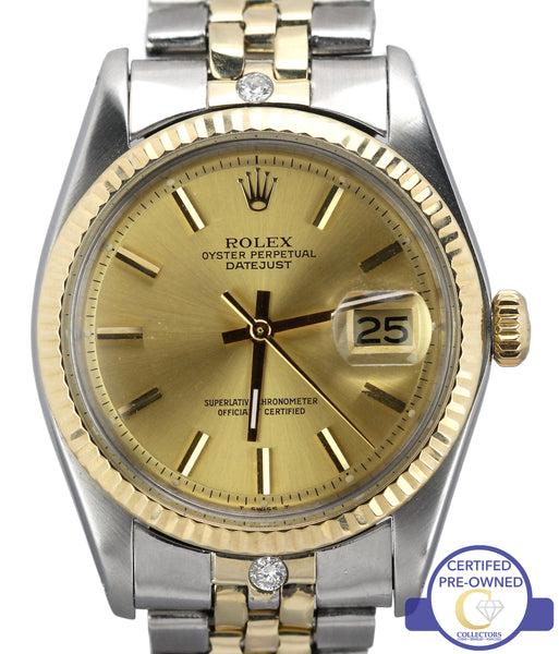 Rolex DateJust 36mm 1601 Diamond Pie Pan Two-Tone Gold Steel Jubilee Watch 16013