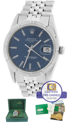 MINT Rolex Date 15210 Blue 34mm Stainless Jubilee Watch DateJust Men's Women's