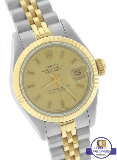 Ladies Rolex DateJust 26mm 69173 R Two-Tone Gold Steel Champagne Jubilee Watch
