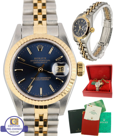 2001 MINT Ladies Rolex DateJust 79173 18K Gold 26mm Blue Stick Jubilee Watch