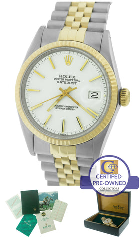 Rolex DateJust 36mm 16013 Two-Tone 18K Yellow Gold Stainless White Jubilee Watch