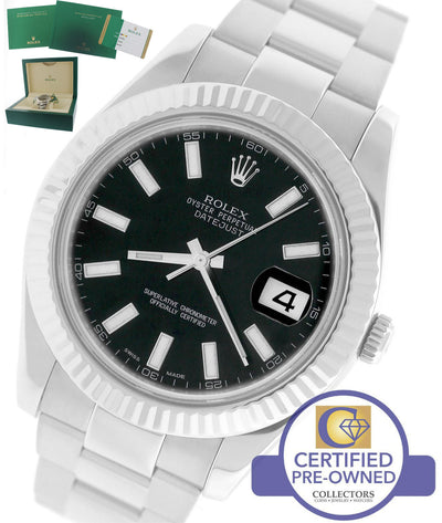MINT 2017 Rolex Datejust II 2 41MM Black 116334 Stainless 18K White Gold Watch