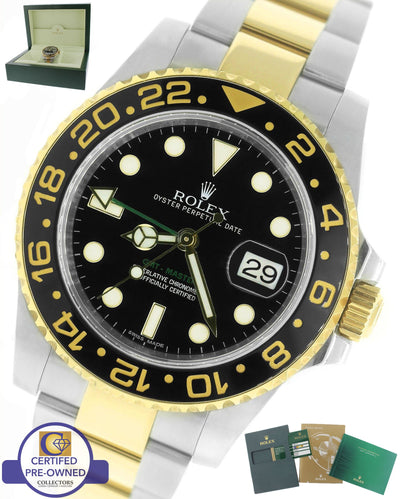 2012 Rolex GMT-Master II Ceramic 116713 Black Two-Tone Stainless Date 40mm Watch