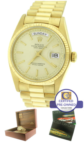 Rolex Day-Date President 18038 36mm Silver 18K Yellow Gold Watch Presidential
