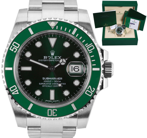 NEW DECEMBER 2018 Rolex Submariner Date Hulk 116610 LV Green Ceramic 40mm Watch