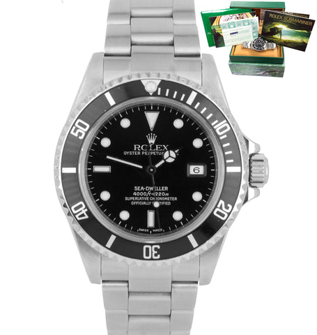2001 BOX PAPERS Rolex Sea-Dweller 16600 Stainless 40mm Black Date Dive Watch SEL