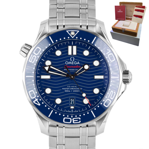 2019 MINT Omega Seamaster Diver 300M 42mm Blue Wave 210.30.42.20.03.001 Watch