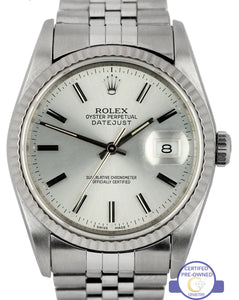Rolex DateJust 36mm Silver Stick 16234 Stainless 18K Gold Jubilee Fluted Watch