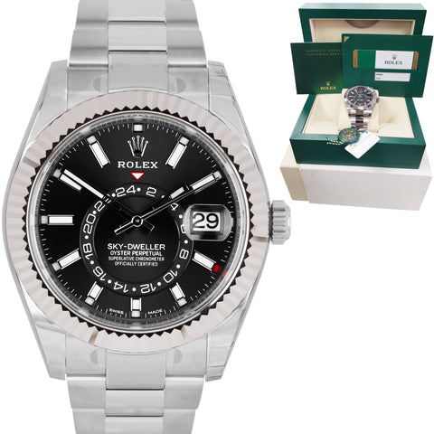 NEW JUNE 2020 STICKERED Rolex Sky-Dweller Stainless White Gold Black 42mm 326934