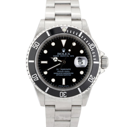 2008 Rolex Submariner Date ENGRAVED REHAUT Pre-Ceramic SEL Steel Watch 16610 T