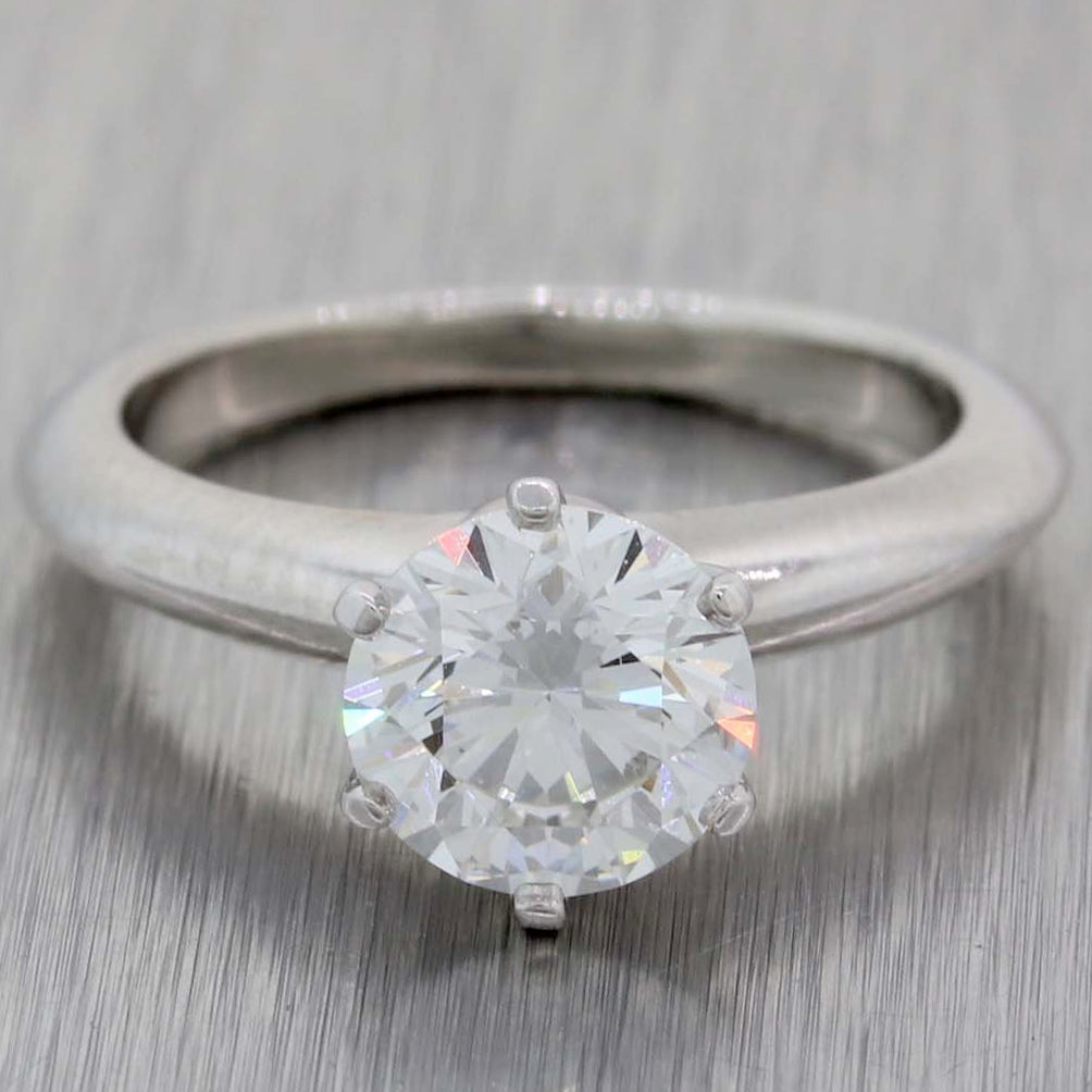 Tiffany & Co. Setting Platinum 1.39ctw GIA Solitaire Diamond Engagement Ring G8