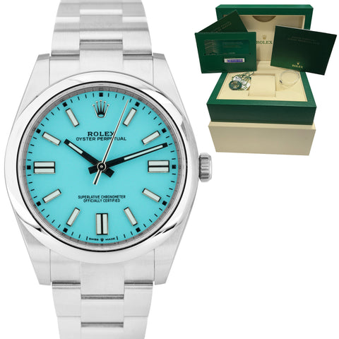 BRAND NEW 2020 CARD Rolex Oyster Perpetual 41mm TIFFANY BLUE Oyster Watch 124300