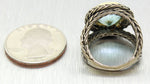 1930s Antique Art Deco Sterling Silver & 14k Gold 6ct Blue Topaz Ring