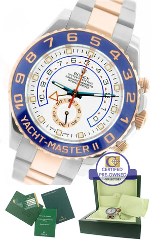 2014 MINT Rolex Yacht-Master II 44mm Two-Tone Rose Gold Ceramic 116681 Watch