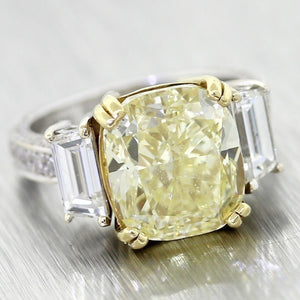 Vintage Solid 18k Gold 7.2ctw Cushion Fancy Yellow Diamond GIA Engagement Ring