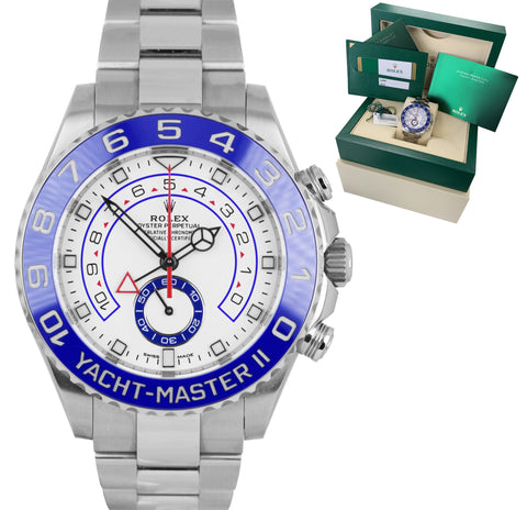 2020 Rolex Yacht-Master II 44mm MERCEDES HANDS White Blue Ceramic 116680 Watch
