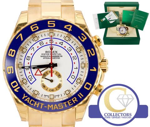 BRAND NEW Men's Rolex Yacht-Master II 18K Yellow Gold Blue 116688 44mm Watch