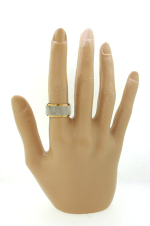 Vintage Estate 14k Solid Yellow & White Gold Brushed Band Ring