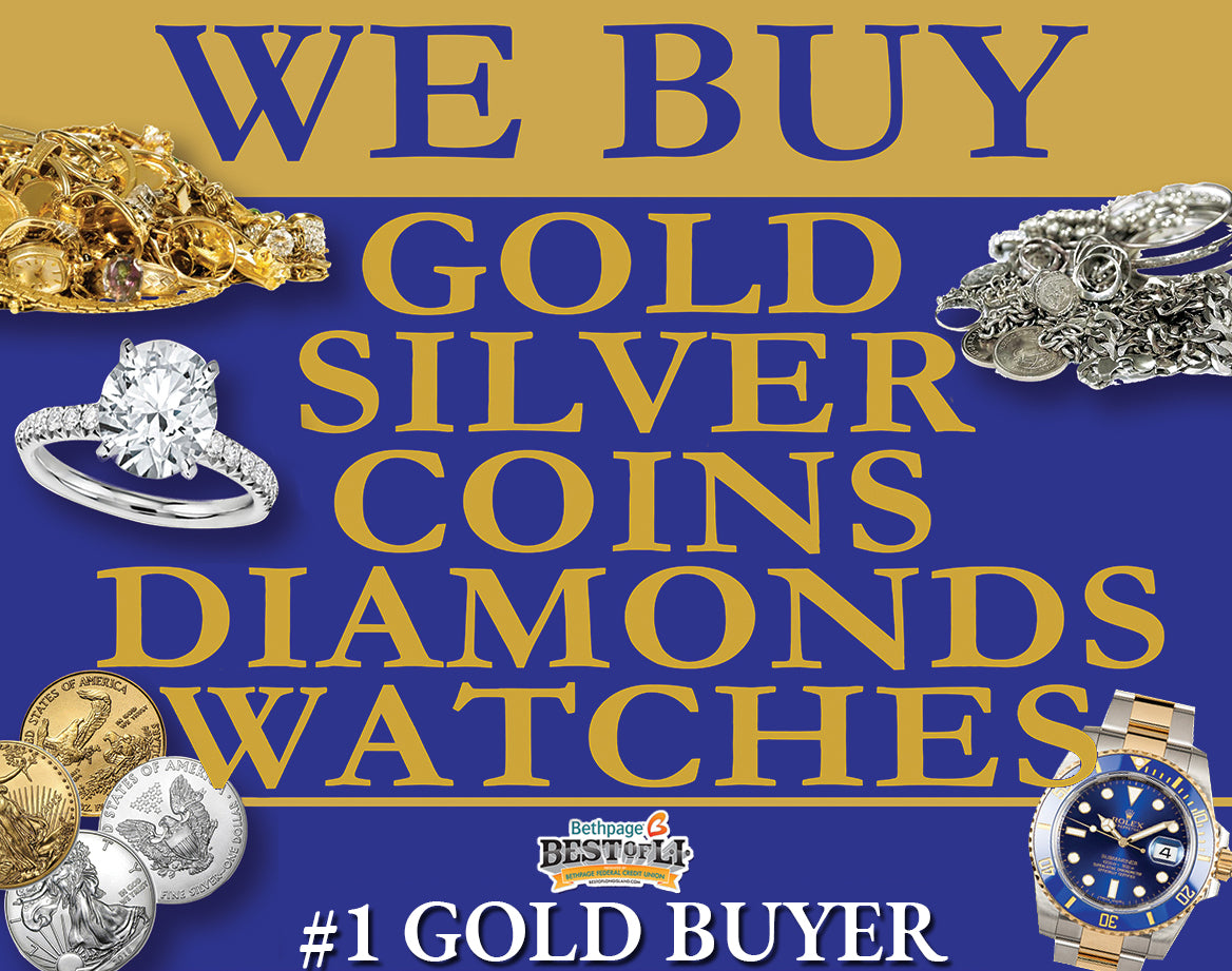 We Buy: Gold, silver, coins, watches, diamonds. #1 Gold Buyer