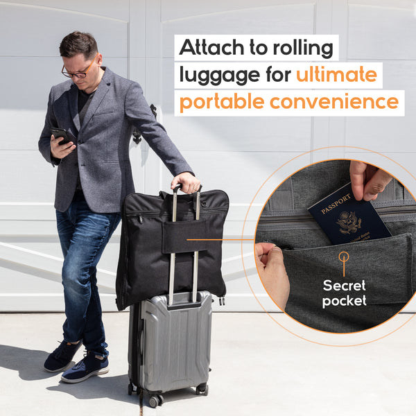 Garment Bag Attached to Rolling Luggage