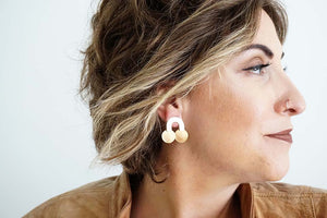 Glossy Gold Arch and Circle Post Earrings