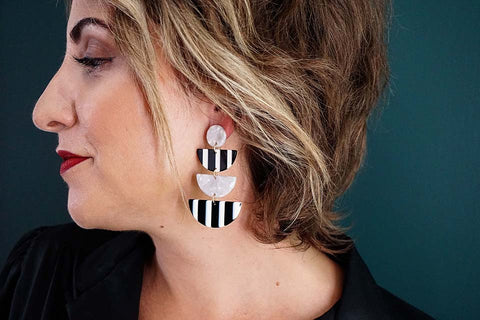 Black and White Stripe Acrylic Statement Earrings