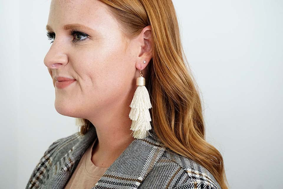 Cream Tier Tassel Earrings