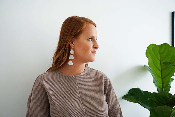 White Acrylic and Rose Gold Post Statement Earrings