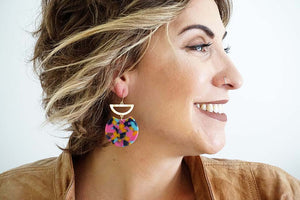 Gold Geometric and Pink Multicolor Acrylic Earrings