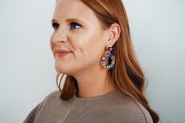 Multicolor Acrylic Geometric Post Earrings