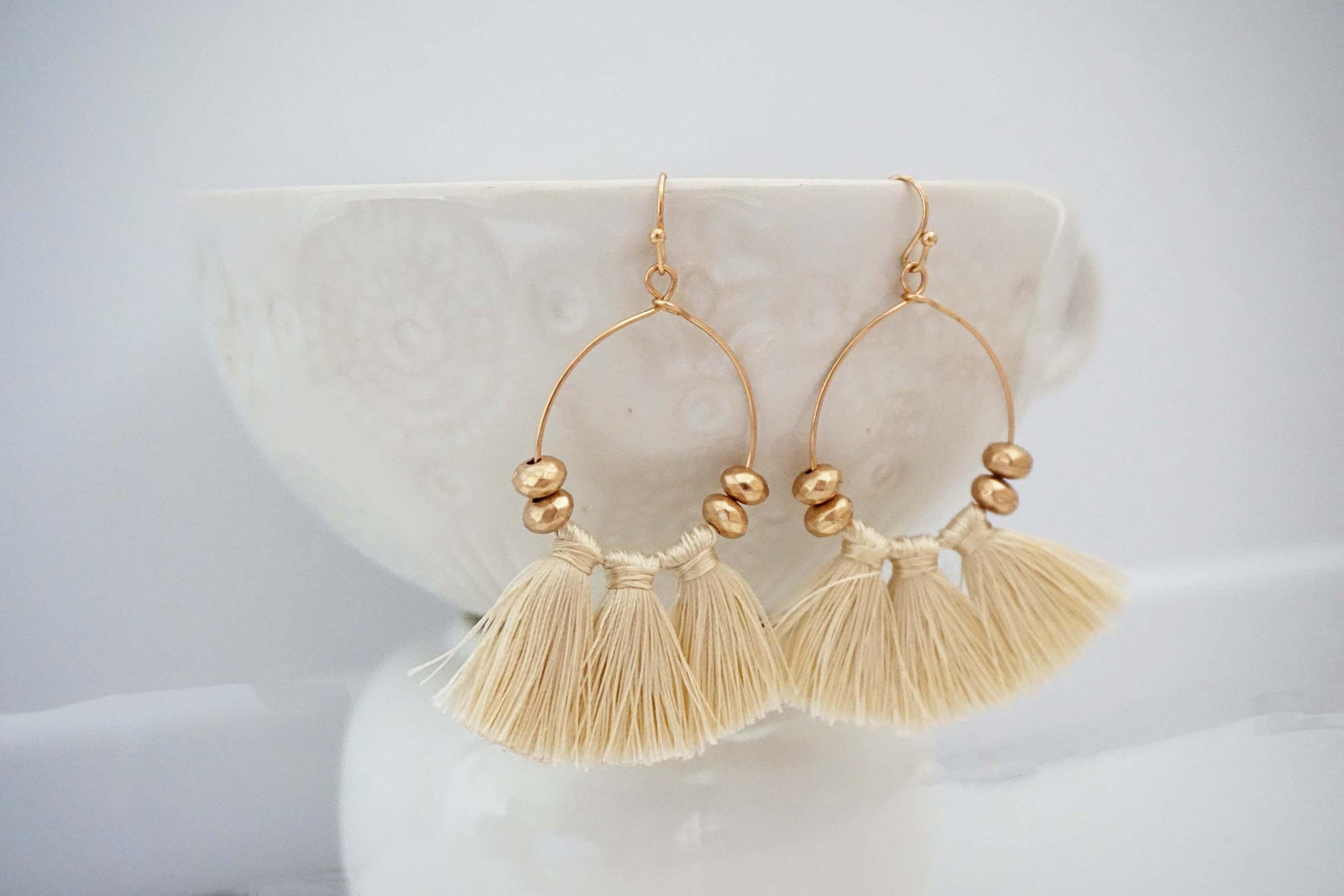 Matte Gold Bead and Tassel Earrings