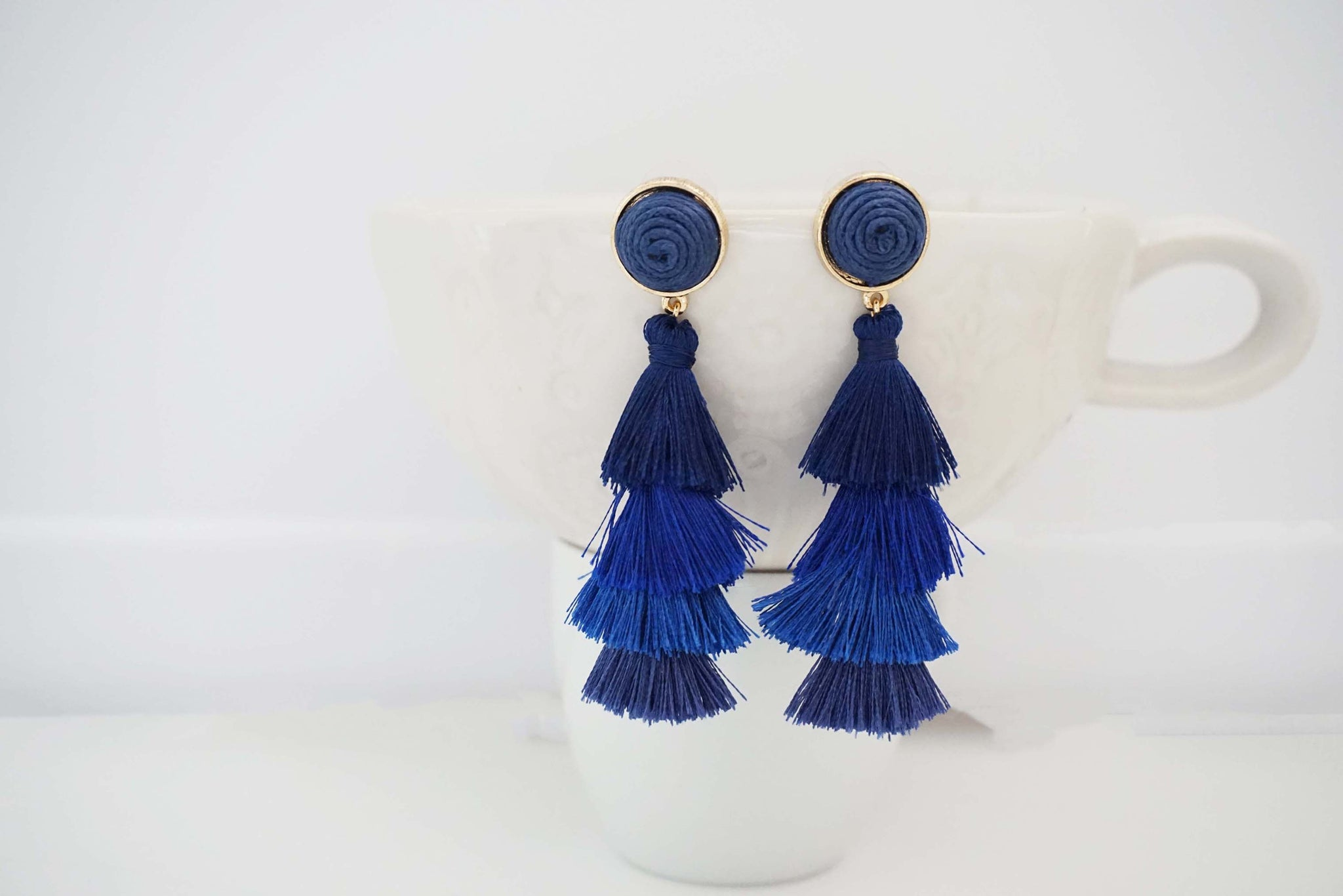 Ombre Tier Tassel Post Earrings