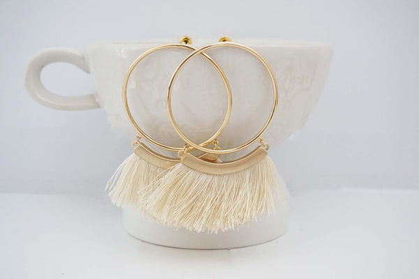 Large Gold Circle Tassel Post Earrings