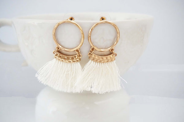 Gold Circle Post Tassel Earrings