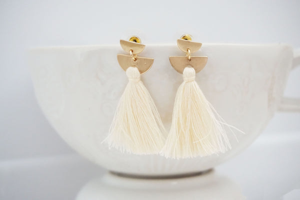 Gold Half Moon Post Tassel Earrings