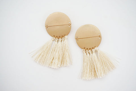 Hinged Circle Post Tassel Earrings