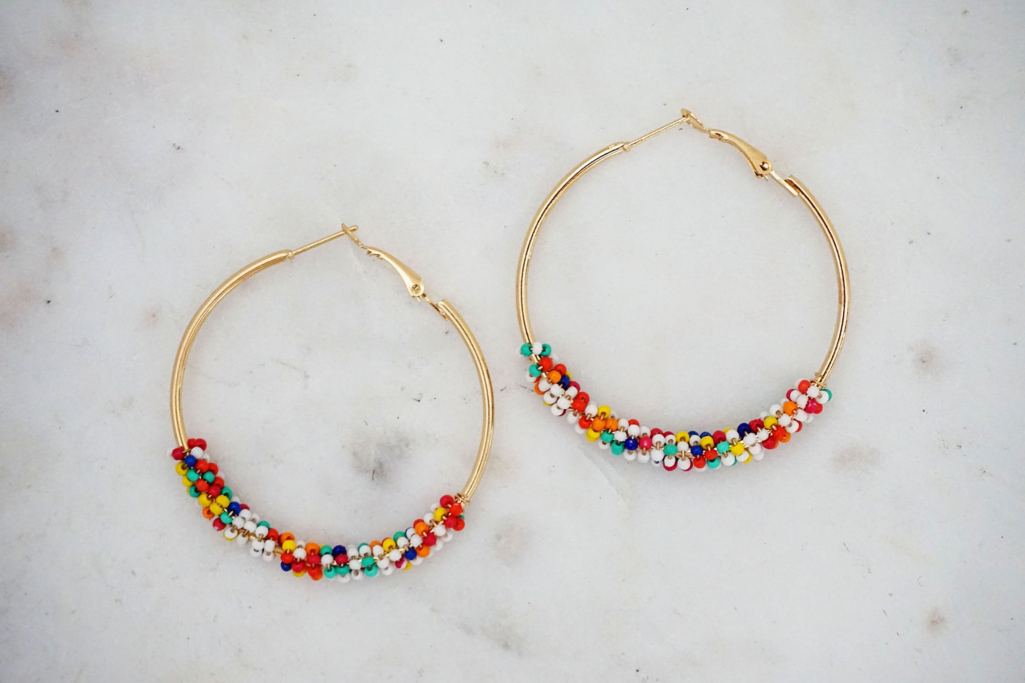 Beaded Gold Hoop Earrings