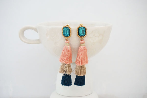 Pink and Blue Jewel Post Tassel Earrings