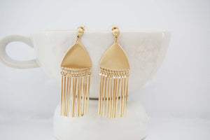 Matte Gold Tassel Post Statement Earrings