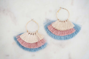Blue, Pink, and Cream Tier Tassel Hoop Earrings