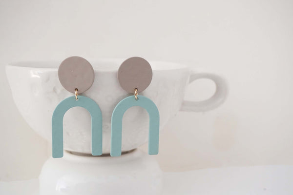 Blue and Grey Geometric Post Earrings