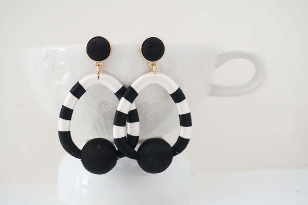 Black and White Post Statement Earrings