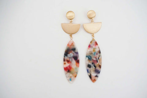Gold Post and Multicolor Acrylic Earrings