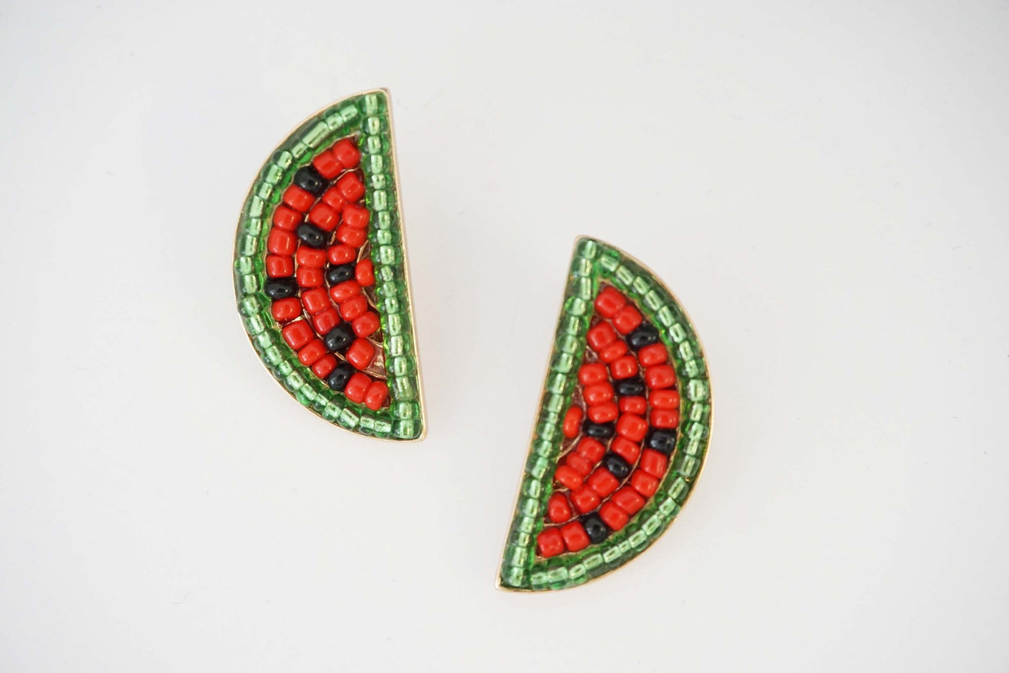 Watermelon Beaded Post Earrings