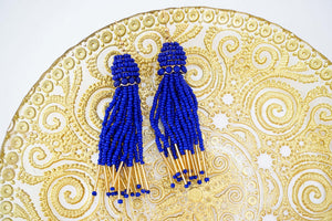 Blue and Gold Beaded Tassel Earrings